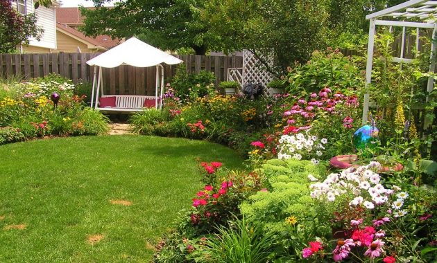 Backyard tiered flower garden and shed